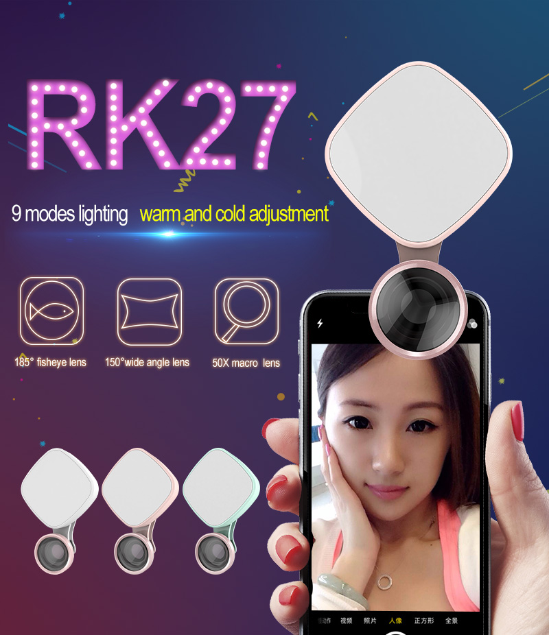 Universal Smartphone rk27 selfie flash led light with Camera Lens clip for mobile phone Mini LED Selfie Ring Light