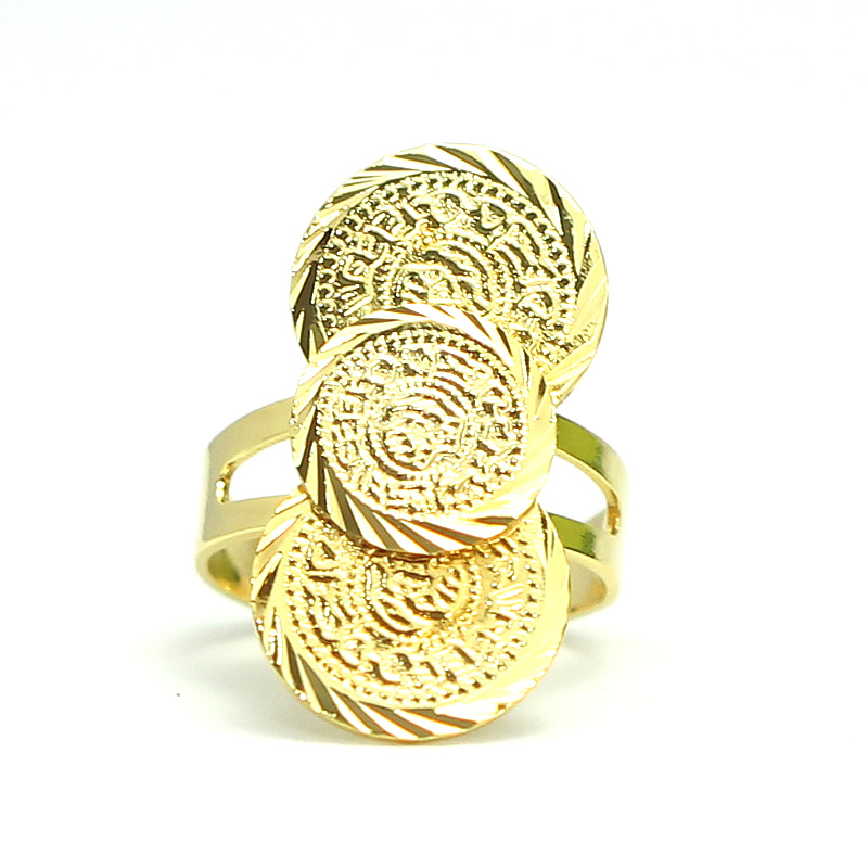 Beadsnice copper adjustable rings coin ring 24K gold plated brass jewelry ring ID 31976