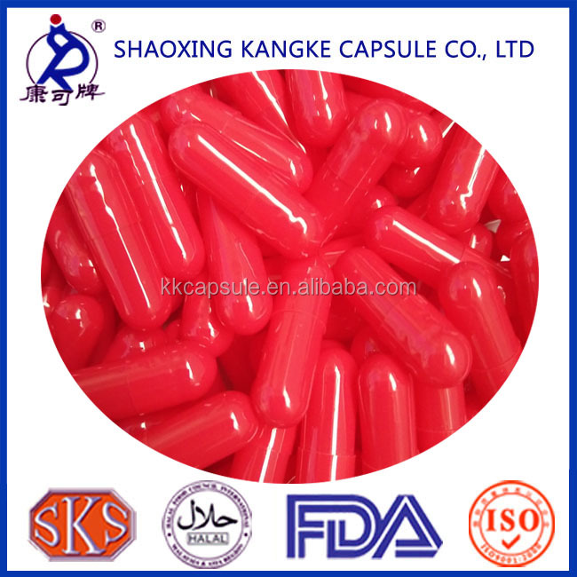 Bovine Bone Gelatin empty Hard Capsules in full red