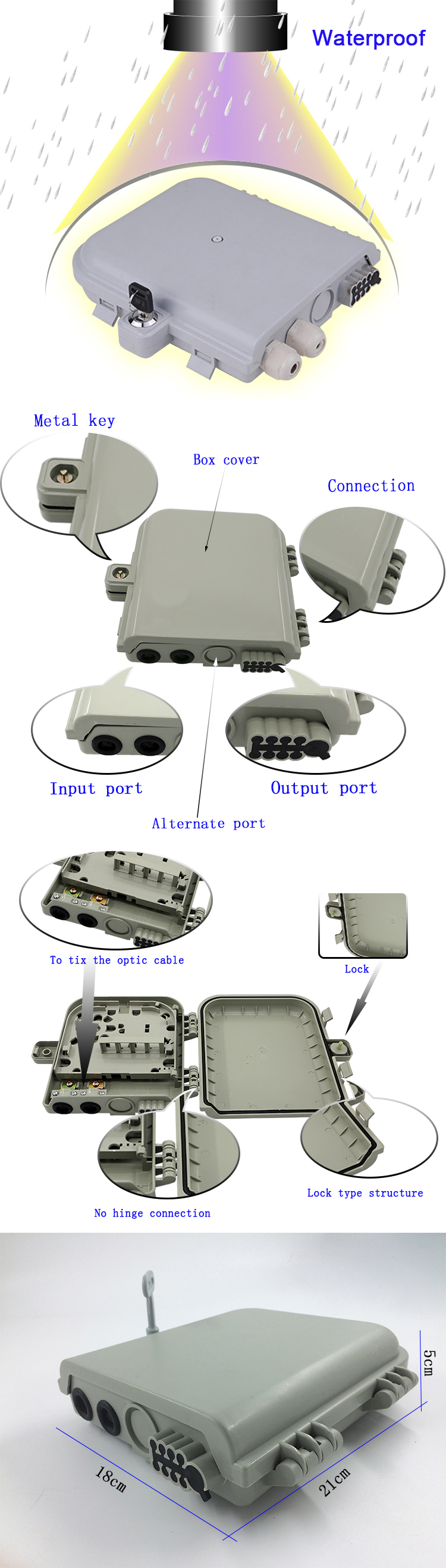 FTTH 8 core ip65 1*8 drawer PLC splitter distribution box outdoor wall mount fiber cable storage junction termination box