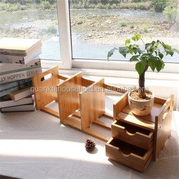 Adjustable Expandable Bamboo Desktop Bookshelf
