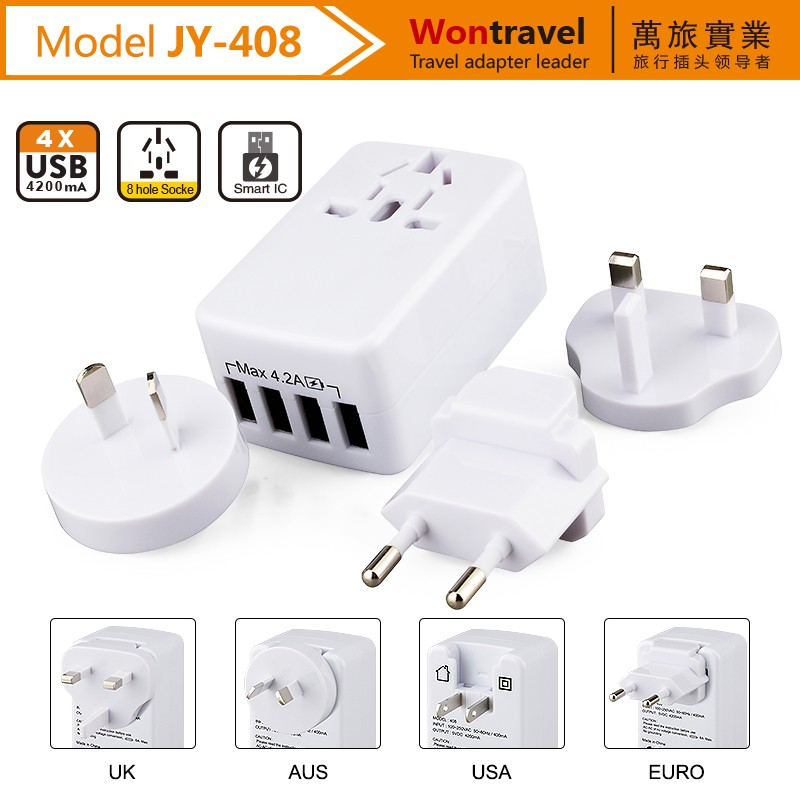 JY-408 Wontravel brand wholesale gift items detachable plug universal travel power ac adapter charger