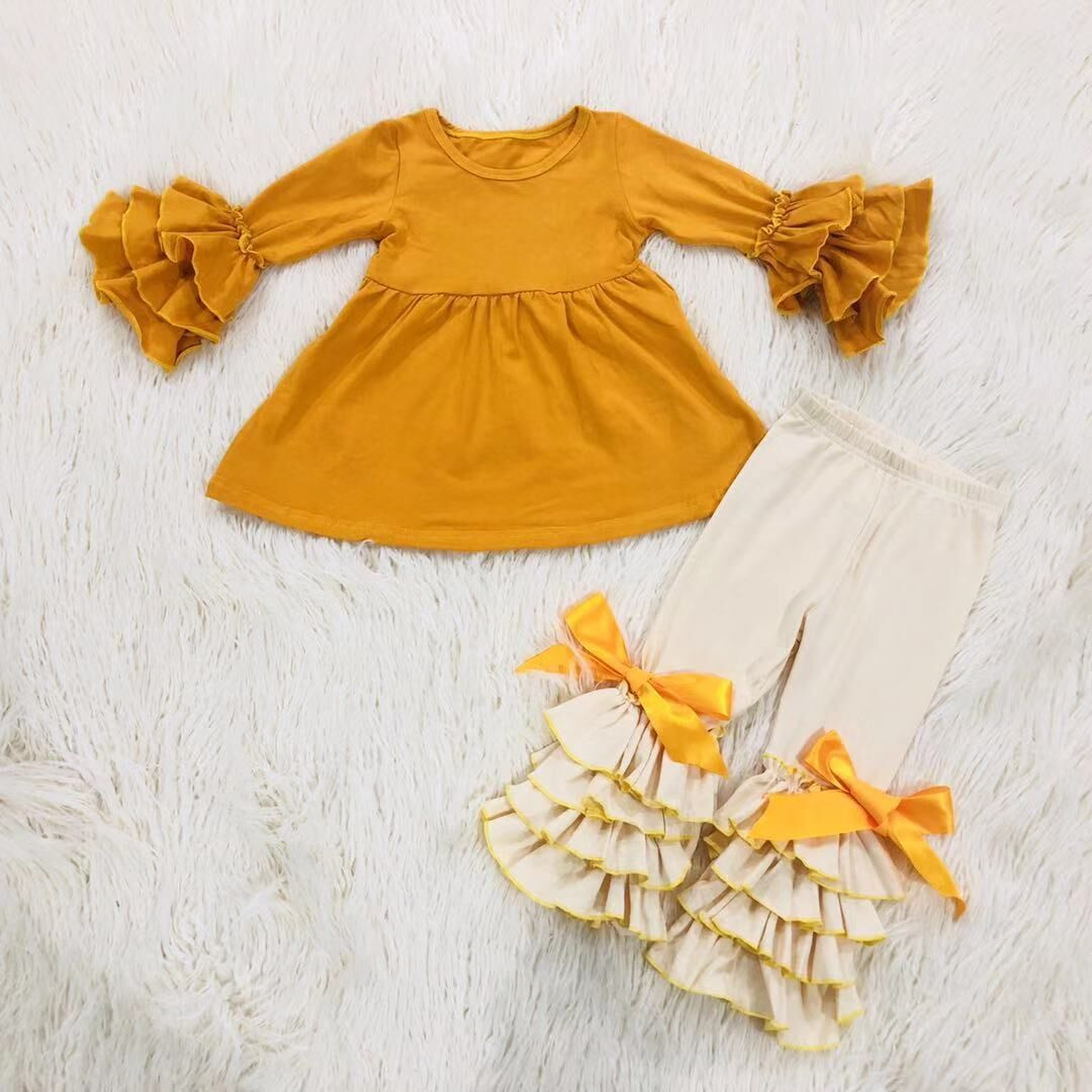 wholesales children girls toddlers clothing solid color ruffle ribbon bow top and legging 2pc boutique set