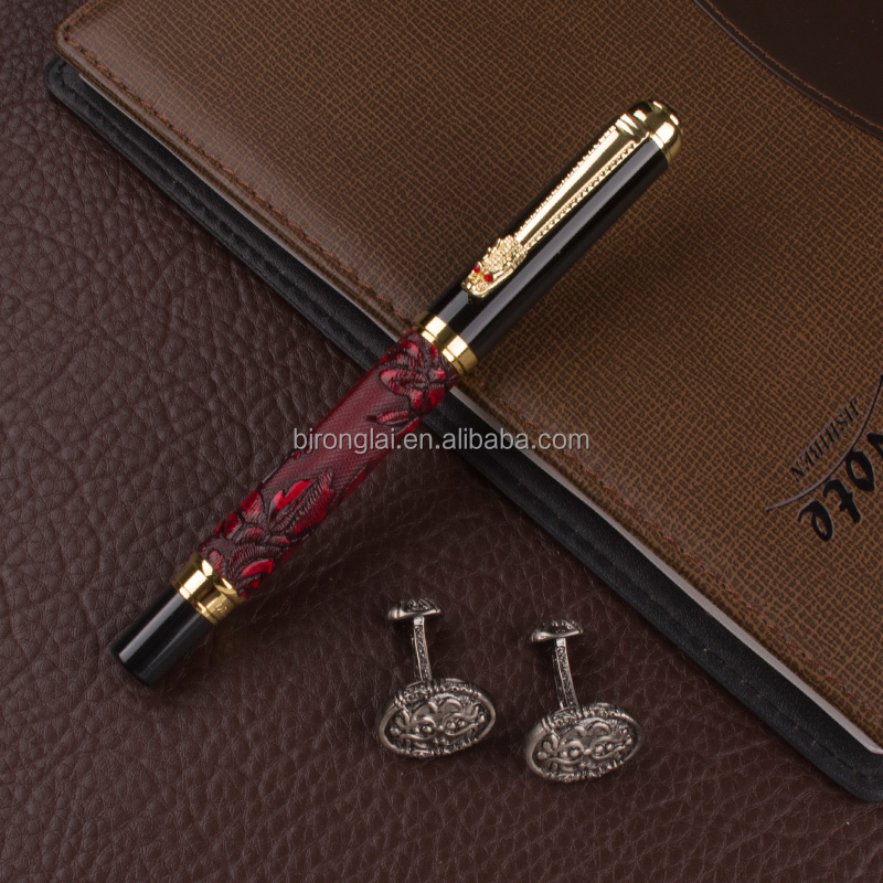Luxury Golden Dragon clip With Red grape Exquisite Pattern Roller ball <strong>pen</strong> & business Cufflinks gift set