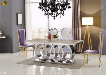 Wholesale Audi Symbol Base Stainless Steel Marble Top Dining Table - Stainless steel dining table base suppliers