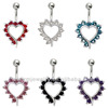 316L Surgical Steel 14 Guage Love Heart Belly Ring Navel Bar Barbell Stud Body Jewelry Piercing BER-006
