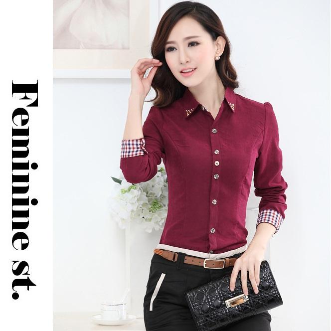 Nuevo 2015 otoño formales camisas rojas mujeres trabajo