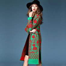 big brand contract red and green floral printing thick long overcoat outwear jacket soft mix wool cashmere cardigan sweater coat