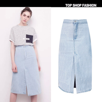 e1ff6d067e90 X62000A Midi High Waist Summer Skirts Women Knee Length Jeans A-Line Skirt