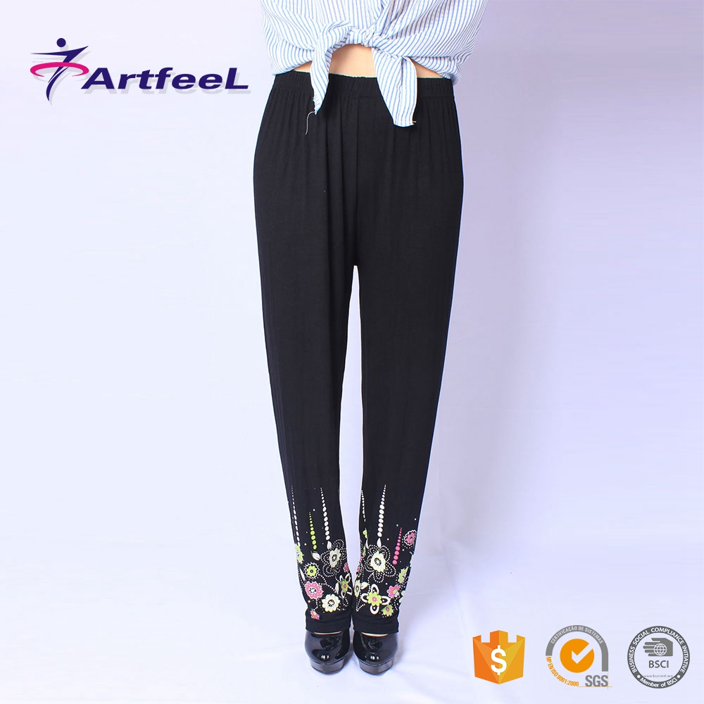 High quality broad leg women pants and ladies capri trousers