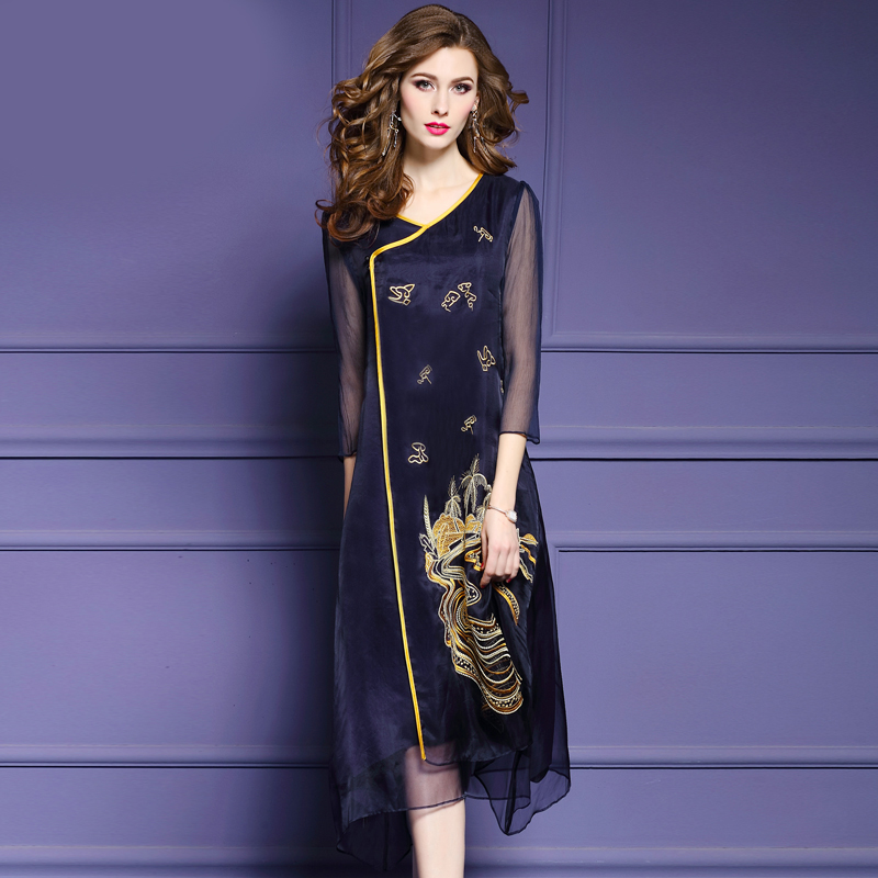 2018 new Chinese style real silk pure color long women dresses
