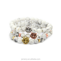Jewelry Handmade Luxury Mens Agate Stone Owl Beads Bracelet
