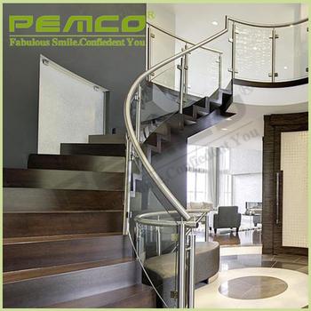 diseo moderno modelo de escalera de barandilla de acero inoxidable barandilla extrable de vidrio templado
