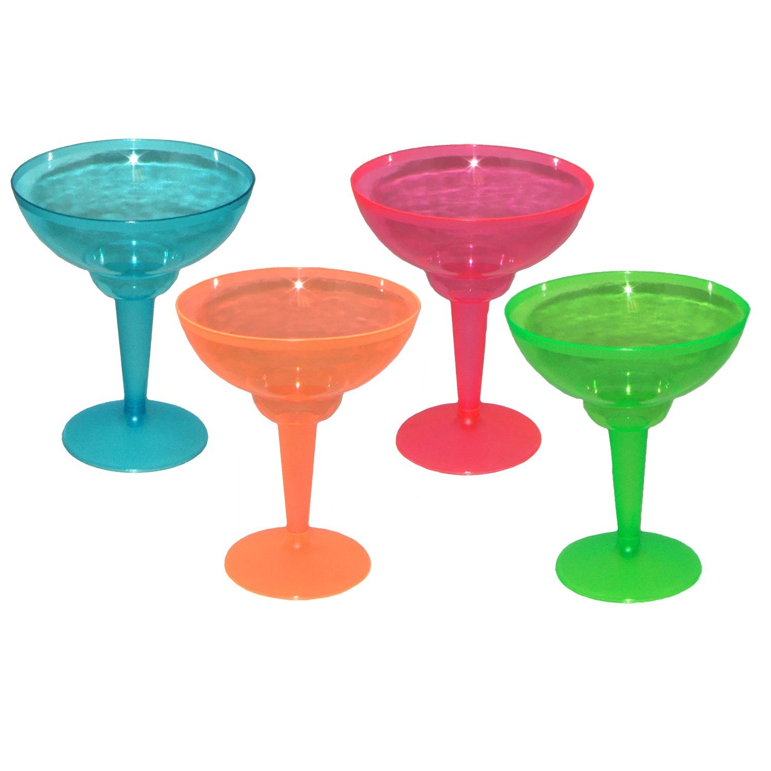 Party Essentials N121290 Brights Plastic 2-Piece Margarita Glass, 12-Ounce Capacity, Assorted Neon Pink/Green/Blue/Orange (Case of 144)