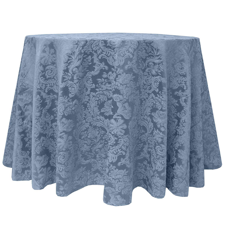 Ultimate Textile -2 Pack- Miranda 72-Inch Round Damask Tablecloth - Jacquard Weave, Slate Blue