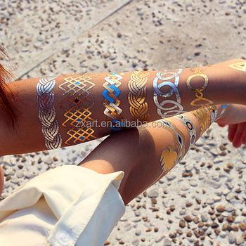 Custom water transfer golden tattoo sticker metallic for Gold foil tattoo
