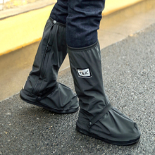 Reusable Men's Waterproof Rain Shoes Cover with Side Zippers Rain Boots Flat Overshoes Rain Gear for Motorcycle Bicycle Riding