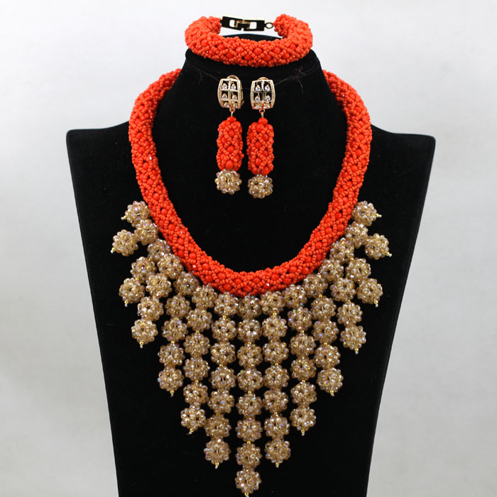 New arriving Nigeria Bridal Beads royal blue Jewelry Sets neacklace/earings/bracelet