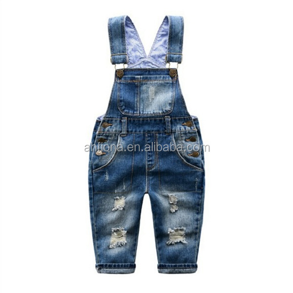 F40701A Kids holes jeans fashion jean kids boys suspender trousers