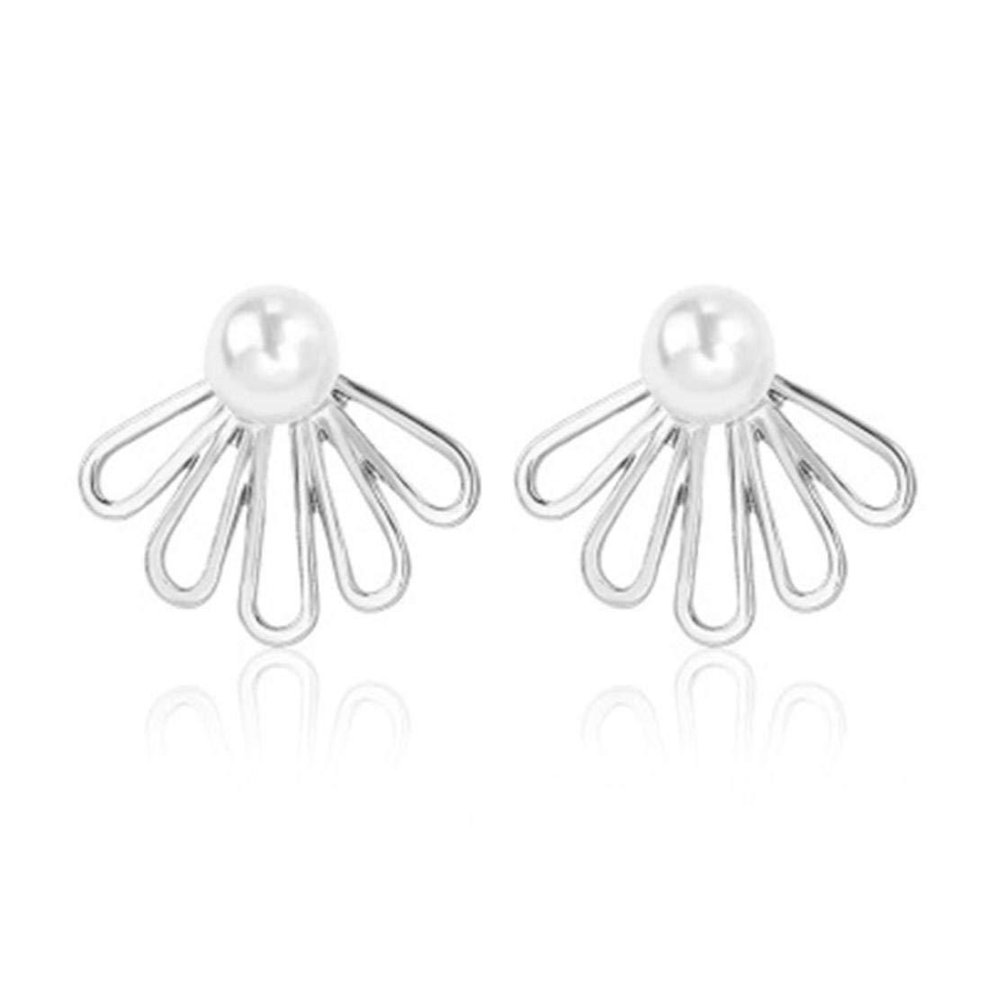 Women's Flower Stud Earrings, Clearance! Iuhan Girls Hollow Flower Ear Stud Pearl Rhinestone Crystal Dangle Earrings Style (C)