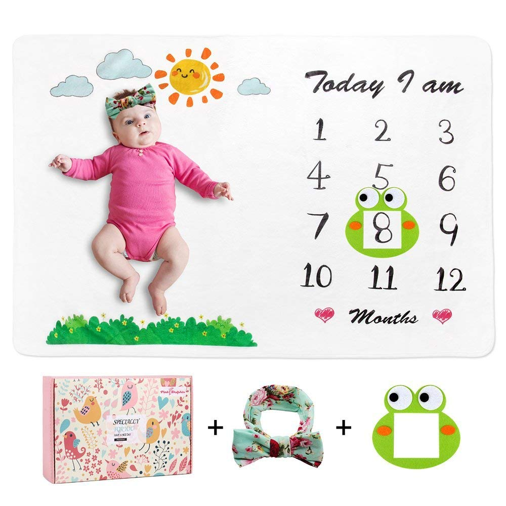 Baby Monthly Milestone Blanket (Free Headband & Frame Included) Wrinkle-Free Premium Fleece, Large 60 x 40 Size Photo Props for Boy & Girl