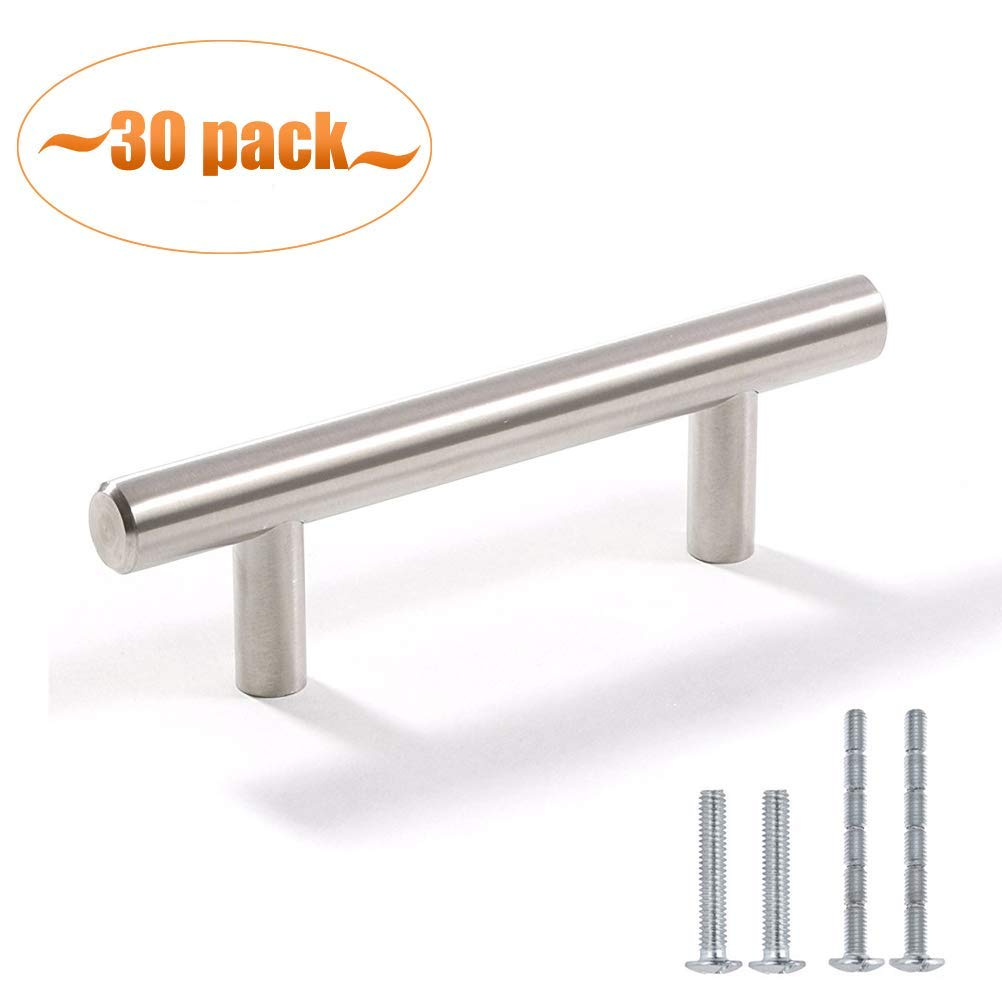 """Aybloom Cabinet Handles - Pack of 30 Stainless Steel Brushed Nickel Finish Hollow Tube T Bar Drawer Pulls for Kitchen Furniture Hardware (Overall Length: 5"""", Hole Center: 3"""")"""