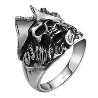 Tryme Punk Pirate Skull Men Finger Rings Never Fade Silver Plated 316L Stainless Steel Jewelry Biker Motor Ring for Man Gifts