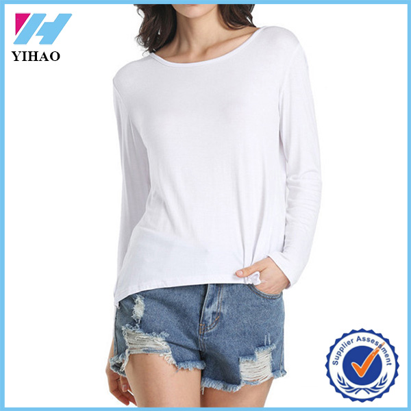 Dongguan Yihao 2015 Summer Ladies Brand Clothing Designs Casual Women Fashion Sexy New White Long Sleeve Cross Backless T-shirt