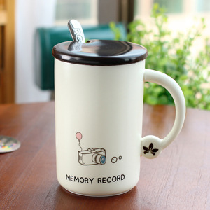 Zogift Promotional Customized Logo Ceramic Coffee Mug Cup With Lid And Spoon