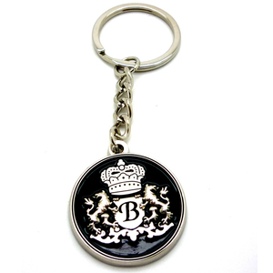 Custom enamel round shaped 3D crown metal coin keychain holder