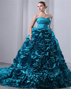 Blue Court Train Lace-up Sweetheart Sleeveless Evening Gowns Ruched Piping Quinceaneras Dress