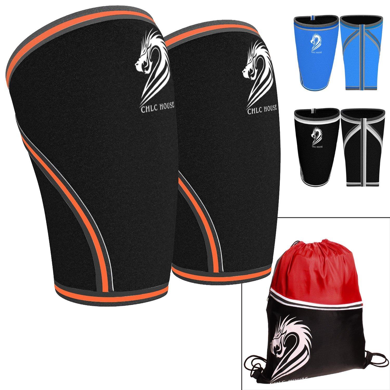 12b50b0975 CHLC HOUSE Knee Sleeves (1 Pair) Free Gym Bag - Squat Knee Support &