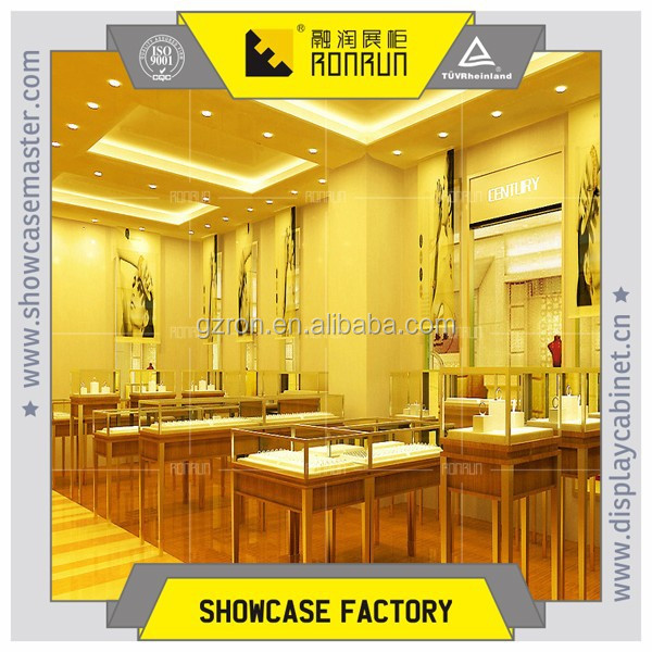 2017 hot selling high end wooden showcase polished brass jewelry interior store design