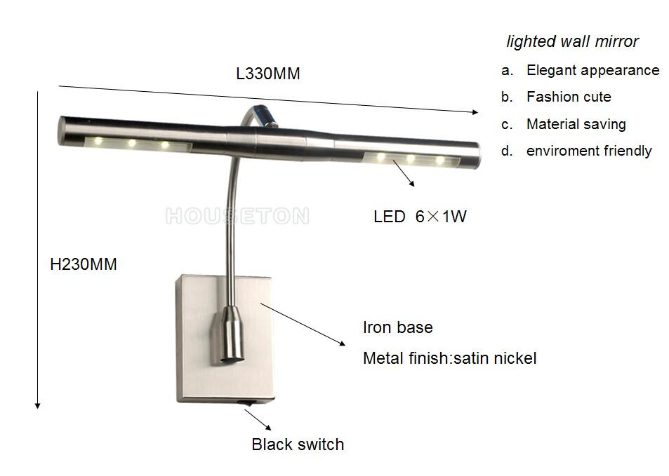 Modern Home Satin Nickel Iron Led Mirror Light,Satin Nickel Iron ...