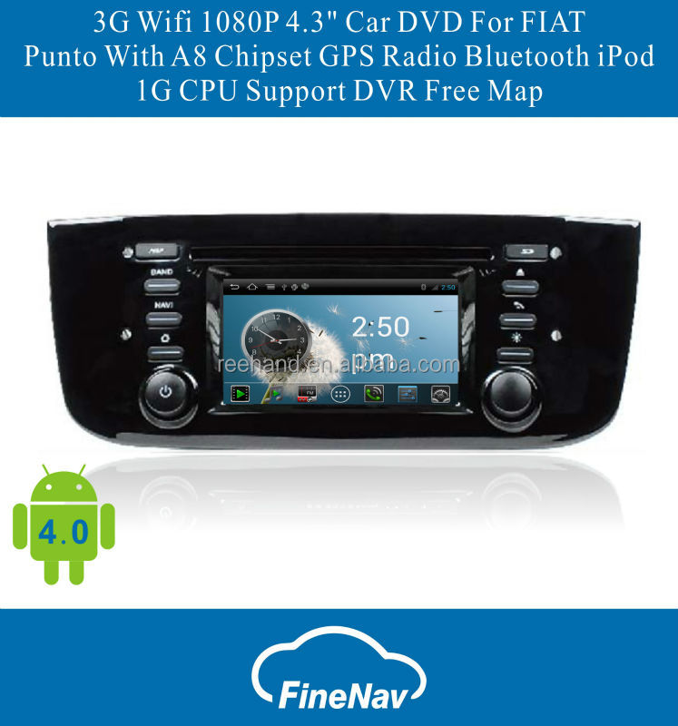 4.3inch 3G/Wifi Android4.0 Car DVD for Fiat Punto with Gps Navgigation,Bluetooth,Ipod,Free map