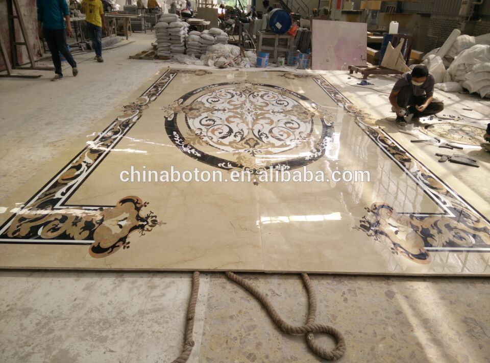 New Villa Flooring Tiles Waterjet Composite Marble Lobby Design