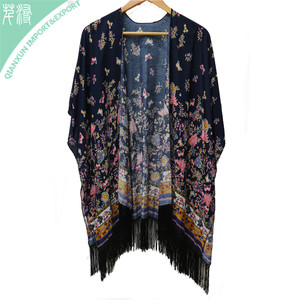SC-129401 Women long floral printed kimono style poncho shawl with fringe trimming