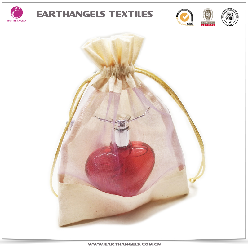 Custom cotton gift bag with organza window