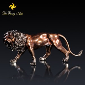 Animal style brass lion statue for home decoration