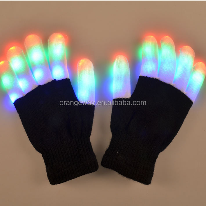 Wholesale Flashing Fingertip Light 7 Mode LED Gloves Mittens Costumes Rave For Halloween Party&Costume Party