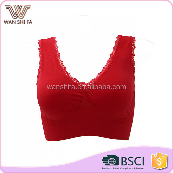 Red stylish lace design seamless high quality women best sports bra running
