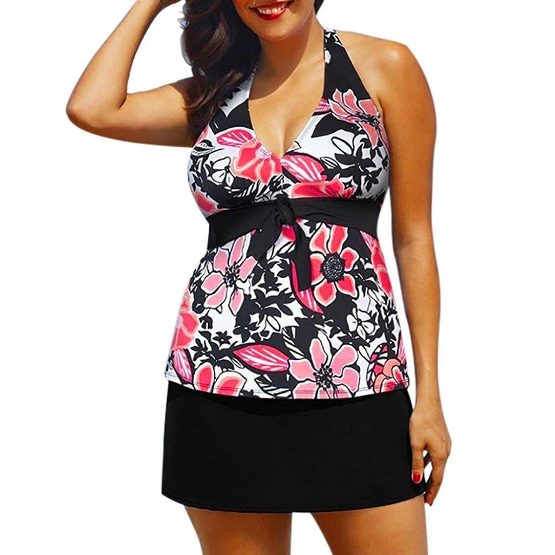 FAPIZI Clearance❀Women Bikini Set❀Hot Plus Size Two Piece Printing Halter Swimwear Push-Up Padded Swimsuit Bathing