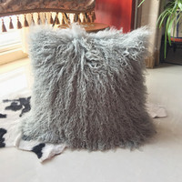 Factory supply lambskin wool cushion soft fluffy fur pillow mongolian lamb
