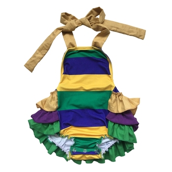 Stylish little girl sleeveless backless ruffle baby romper with stripes in green/purple/yellow colors for Mardi Gras Holiday