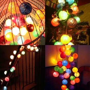 promotion gifts led ball cotton ball string light battery operated multi color indoor wedding christmas decoration - Battery Operated Christmas Decorations