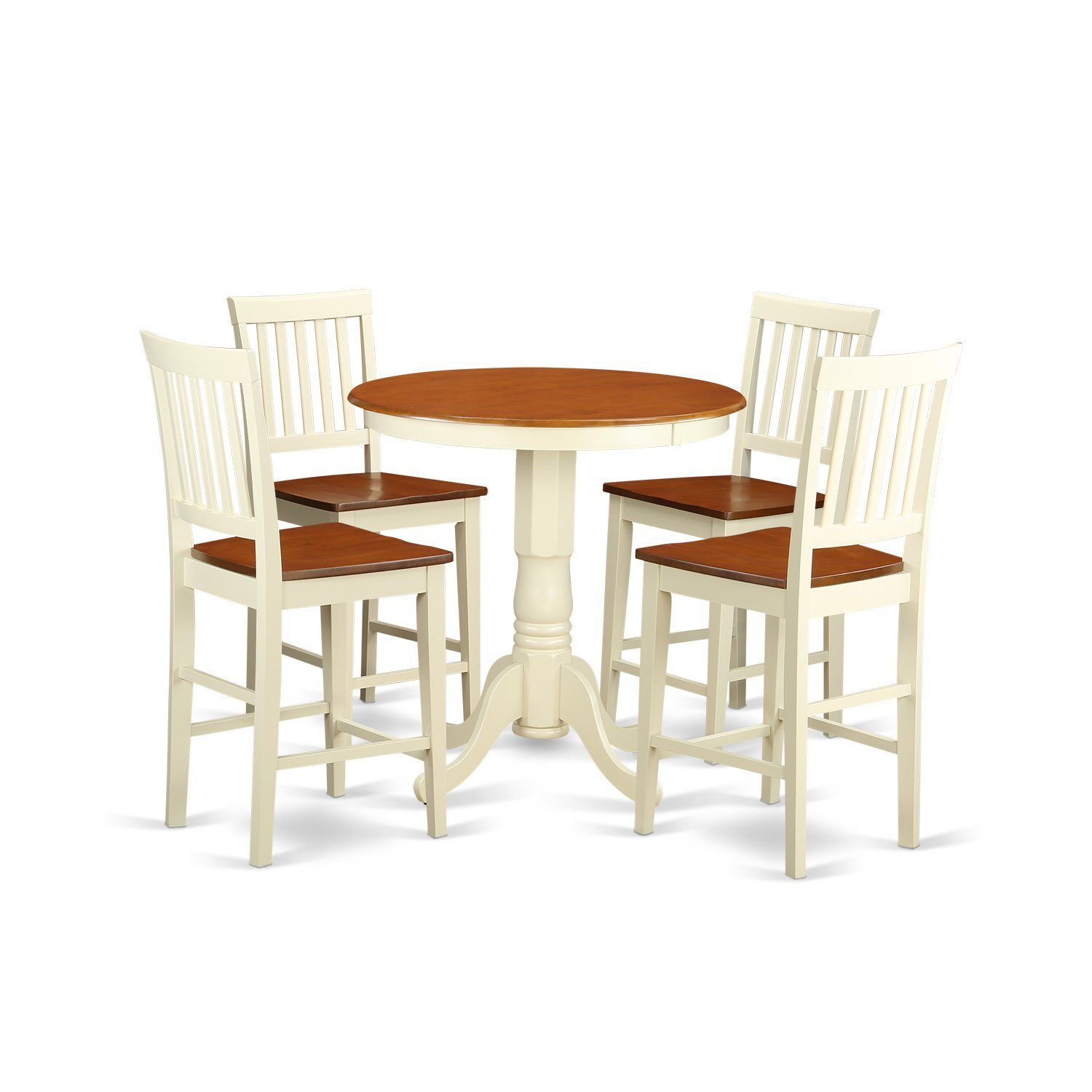 East West Furniture EDVN5-WHI-W 5 Piece Pub Table and 4 Kitchen Bar Stool Set