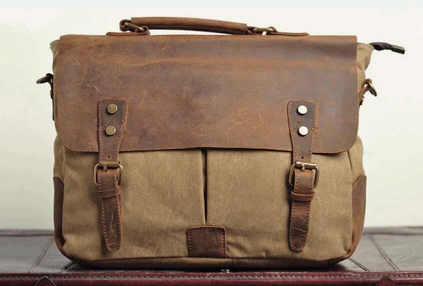 Handmade leather messenger bags waxed cotton canvas messenger bag ...