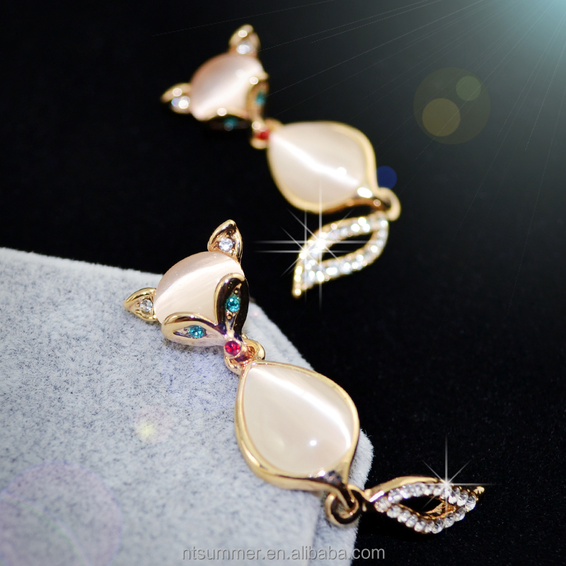 Wholesale ultra low discount alloy crystal rhinestone opal fox drop earrings