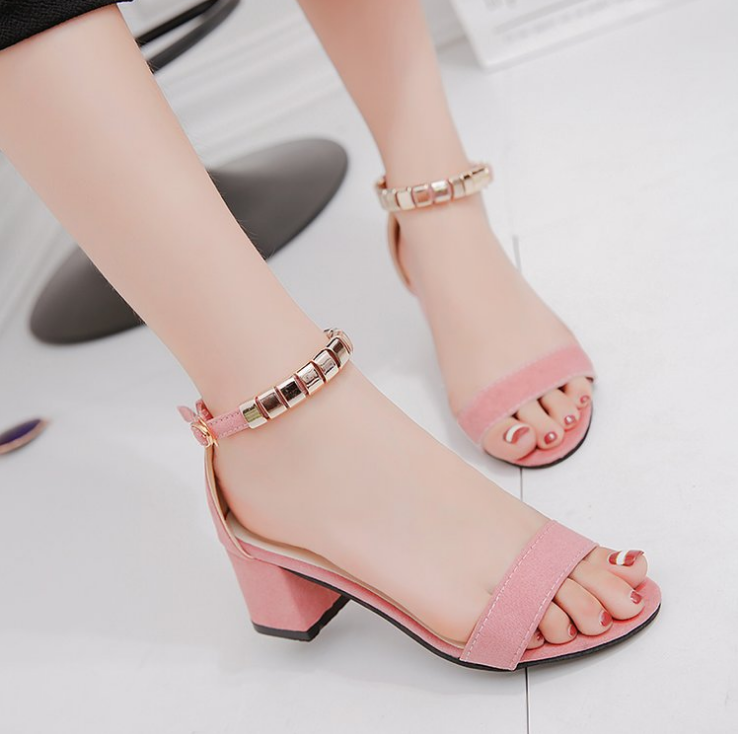 Suede sandals with low <strong>heels</strong> for women and ladies 2019