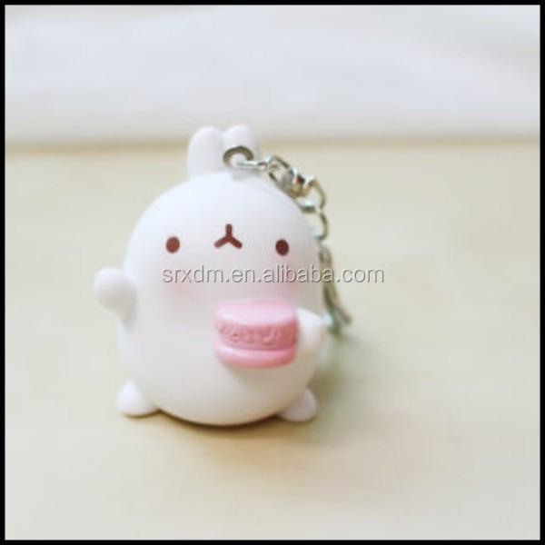 Pvc mini molang bel bianco figura portachiavi rifornimento della
